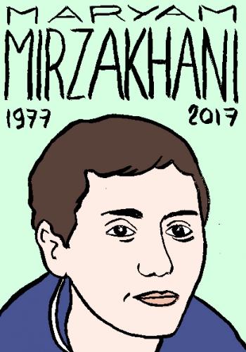 mort de maryam Mirzakhani, dessin, portrait, laurent jacquy,répertoire des macchabées célèbres,mort d'homme,