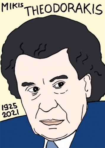 mort de Mikis Theodorakis, dessin,portrait,laurent Jacquy
