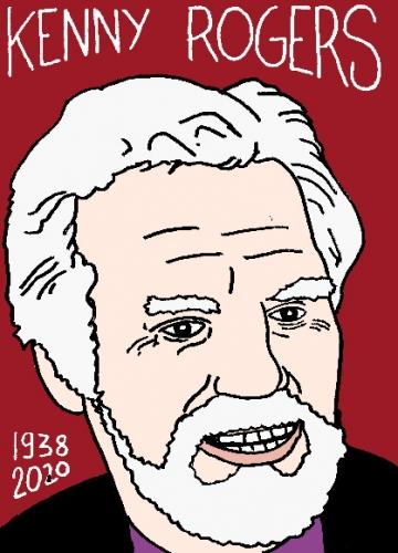 mort de Kenny Rogers, dessin, portrait, laurent jacquy,répertoire des macchabées célèbres,mort d'homme,
