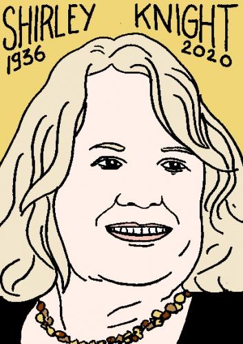 mort de Shirley Knight, dessin, portrait, laurent jacquy,répertoire des macchabées célèbres,mort d'homme,