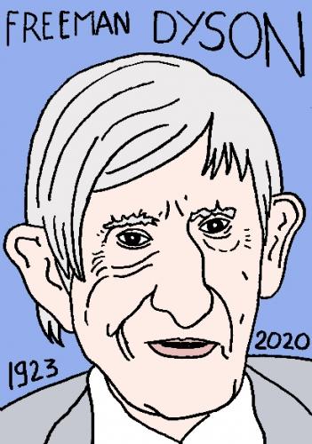 mort de Freeman Dyson, dessin, portrait, laurent jacquy,répertoire des macchabées célèbres,mort d'homme,