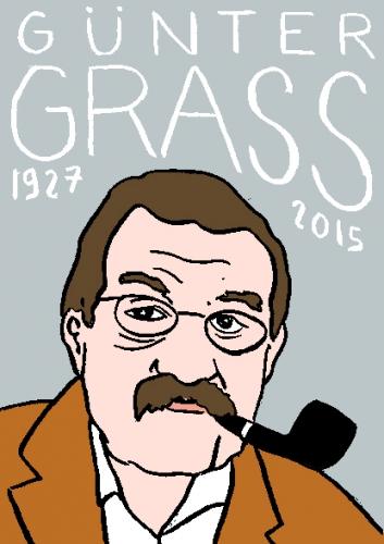 mort de Gunter grass, dessin, portrait, laurent jacquy,répertoire des macchabbées célèbres, visage,mort d'homme