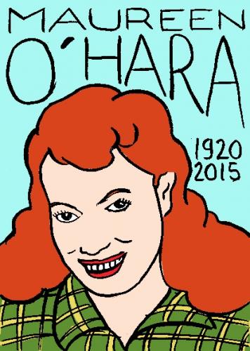 mort de maureen o'hara, dessin, portrait, laurent jacquy,répertoire des macchabées célèbres,mort d'homme,
