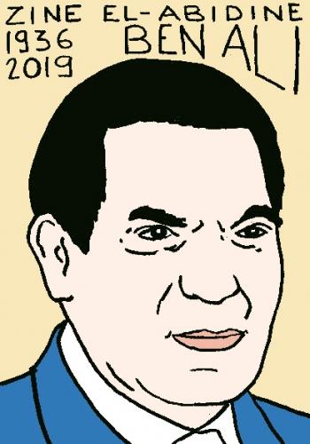 mort de Ben Ali, dessin, portrait, laurent jacquy,répertoire des macchabées célèbres,mort d'homme,