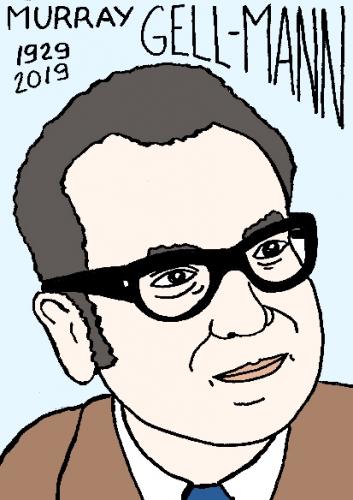 mort de Murray Gell-Mann, dessin, portrait, laurent jacquy,répertoire des macchabées célèbres,mort d'homme,