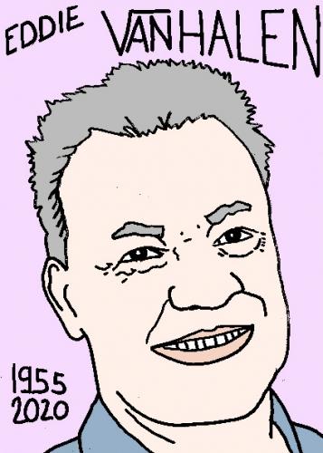 mort d'Eddie Van Halen, dessin, portrait, laurent jacquy,répertoire des macchabées célèbres,mort d'homme,