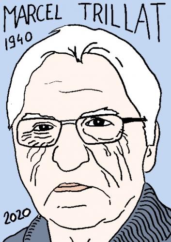 mort de Marcel Trillat, dessin, portrait, laurent jacquy,répertoire des macchabées célèbres,mort d'homme,