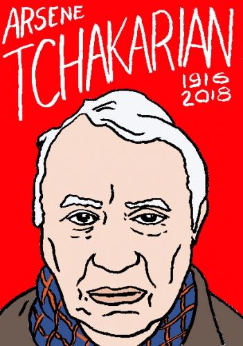 mort d'arsene Tchakarian, dessin, portrait, laurent jacquy,répertoire des macchabées célèbres,mort d'homme,