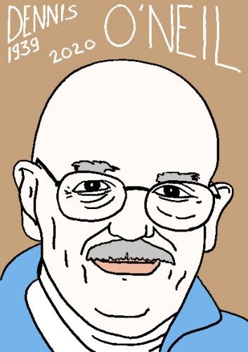 mort de Dennis o'Neil, dessin, portrait, laurent jacquy,répertoire des macchabées célèbres,mort d'homme,