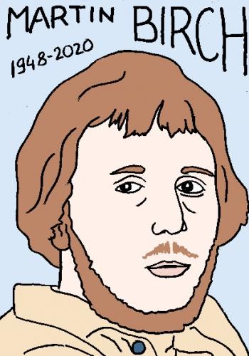 mort de Martin Birch, dessin, portrait, laurent jacquy,répertoire des macchabées célèbres,mort d'homme,