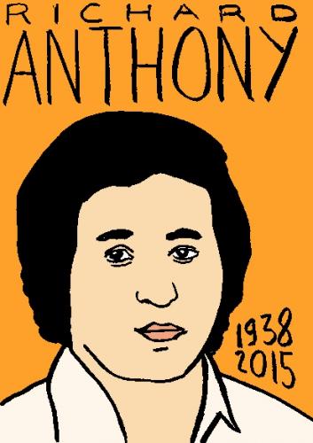 mort de richard anthony, dessin, portrait, laurent jacquy,répertoire des macchabbées célèbres, visage,mort d'homme