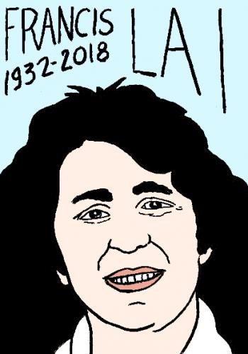 mort de francis Lai, dessin, portrait, laurent jacquy,répertoire des macchabées célèbres,mort d'homme,