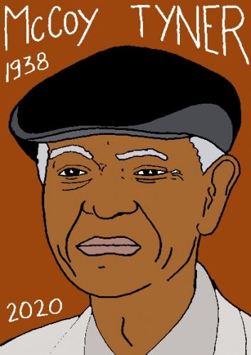 mort de McCoy Tyner, dessin, portrait, laurent jacquy,répertoire des macchabées célèbres,mort d'homme,