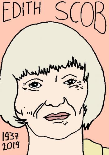 mort de Edith Scob, dessin, portrait, laurent jacquy,répertoire des macchabées célèbres,mort d'homme,