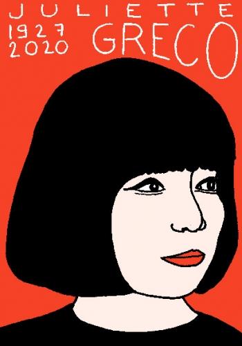 mort de Juliette Gréco, dessin, portrait, laurent jacquy,répertoire des macchabées célèbres,mort d'homme,