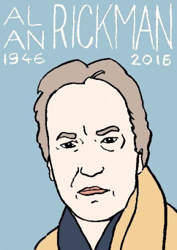 mort d'alan Rickman, dessin, portrait, laurent jacquy,répertoire des macchabées célèbres,mort d'homme,