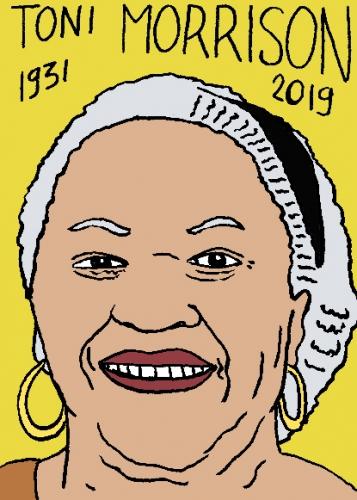 mort de Toni Morrison, dessin, portrait, laurent jacquy,répertoire des macchabées célèbres,mort d'homme,