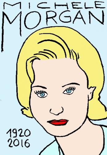 mort de Michèle Morgan, dessin, portrait, laurent jacquy,répertoire des macchabées célèbres,mort d'homme,