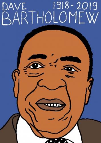 mort de Dave Bartholomew, dessin, portrait, laurent jacquy,répertoire des macchabées célèbres,mort d'homme,