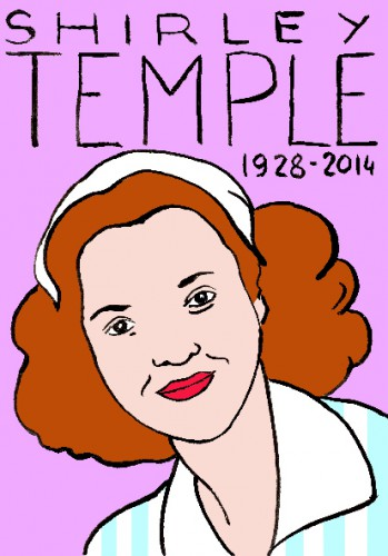 mort de shirley temple,dessin,portrait,laurent jacquy,mort d'homme,répertoire des macchabées célèbres,art modeste