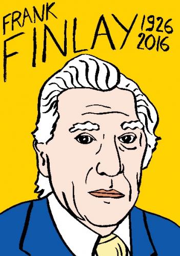 mort de frank finlay, dessin, portrait, laurent jacquy,répertoire des macchabées célèbres,mort d'homme,