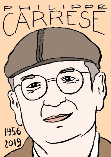 mort de Philippe Carrese, dessin, portrait, laurent jacquy,répertoire des macchabées célèbres,mort d'homme,