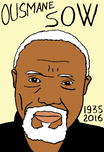 mort de Ousmane Sow, dessin, portrait, laurent jacquy,répertoire des macchabées célèbres,mort d'homme,