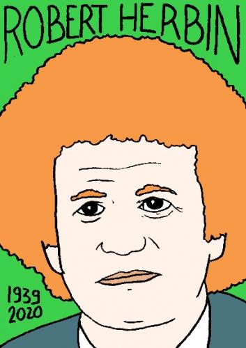 mort de Robert Herbin, dessin, portrait, laurent jacquy,répertoire des macchabées célèbres,mort d'homme,