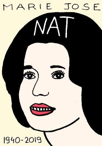 mort de Marie-José Nat, dessin, portrait, laurent jacquy,répertoire des macchabées célèbres,mort d'homme,