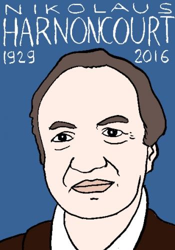mort de nikolaus harnoncourt, dessin, portrait, laurent jacquy,répertoire des macchabées célèbres,mort d'homme,