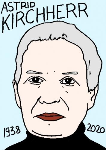 mort d'Astrid Kirchherr, dessin, portrait, laurent jacquy,répertoire des macchabées célèbres,mort d'homme,
