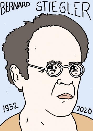 mort de Bernard Stiegler, dessin, portrait, laurent jacquy,répertoire des macchabées célèbres,mort d'homme,