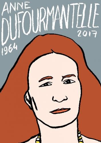 mort d'anne dufourmantelle, dessin, portrait, laurent jacquy,répertoire des macchabées célèbres,mort d'homme,