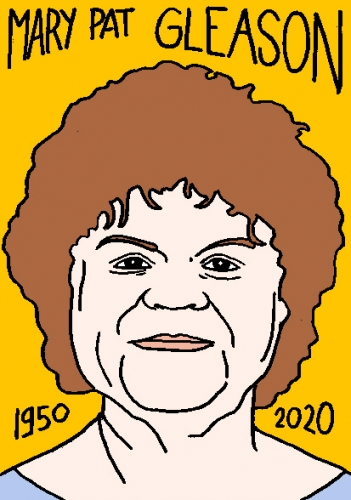 mort de Mary Pat Gleason, dessin, portrait, laurent jacquy,répertoire des macchabées célèbres,mort d'homme,