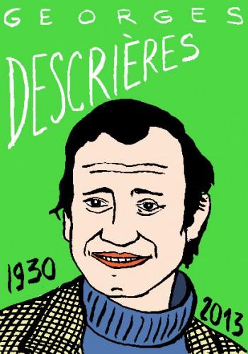 mort de Georges Descrières,dessin,portrait,laurent jacquy,mort d'homme,répertoire des macchabées célèbres,art modeste,art singulier