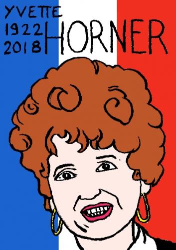 mort d'yvette Horner, dessin, portrait, laurent jacquy,répertoire des macchabées célèbres,mort d'homme,