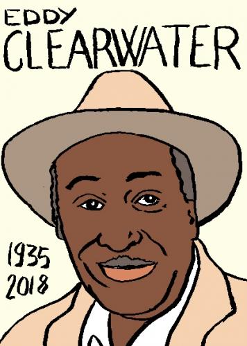 mort d'eddy clearwater dessin, portrait, laurent jacquy,répertoire des macchabées célèbres,mort d'homme,