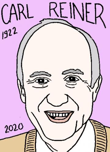 mort de Carl Reiner, dessin, portrait, laurent jacquy,répertoire des macchabées célèbres,mort d'homme,