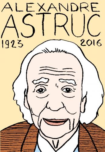 mort d'alexandre Astruc, dessin, portrait, laurent jacquy,répertoire des macchabées célèbres,mort d'homme,