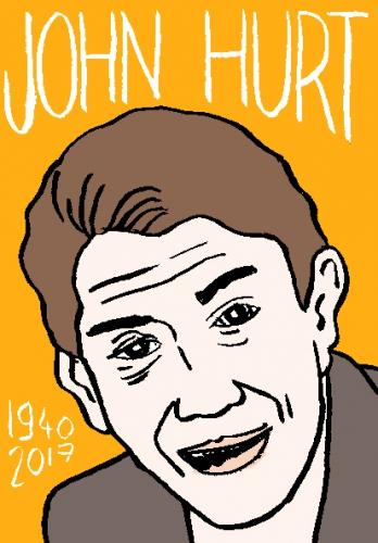 mort de john hurt, dessin, portrait, laurent jacquy,répertoire des macchabées célèbres,mort d'homme,