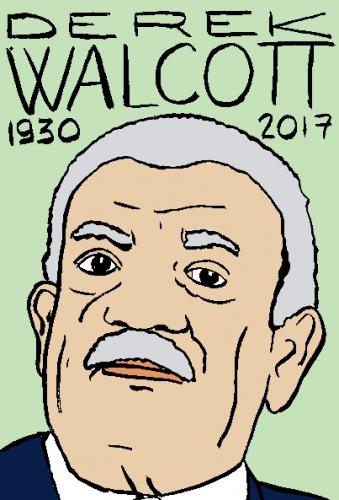 mort de derek walcott, dessin, portrait, laurent jacquy,répertoire des macchabées célèbres,mort d'homme,