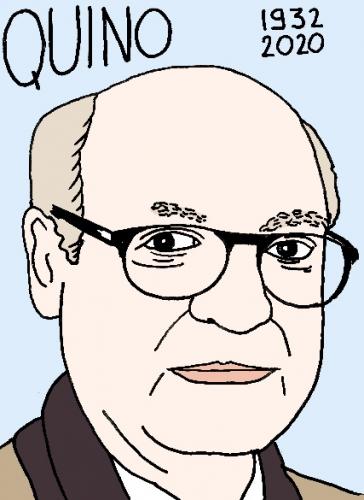 mort de Quino, dessin, portrait, laurent jacquy,répertoire des macchabées célèbres,mort d'homme,