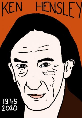 mort de Ken Hensley, dessin, portrait, laurent jacquy,répertoire des macchabées célèbres,mort d'homme,