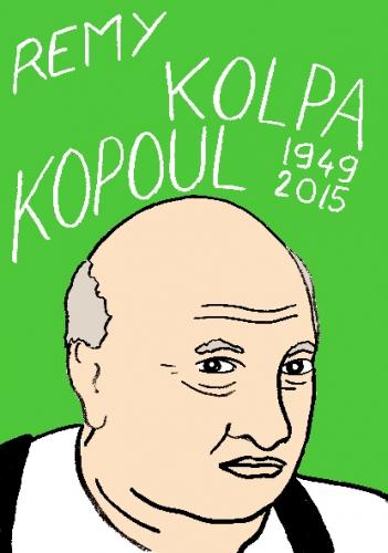 mort de remy kolpa koppoul, dessin, portrait, laurent jacquy,répertoire des macchabbées célèbres, visage,mort d'homme