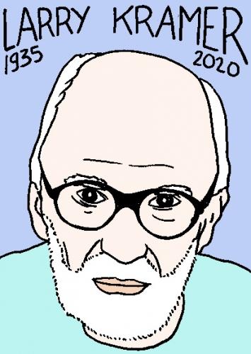 mort de Larry Kramer, dessin, portrait, laurent jacquy,répertoire des macchabées célèbres,mort d'homme,