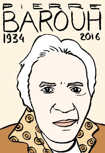 mort de Pierre Barouh, dessin, portrait, laurent jacquy,répertoire des macchabées célèbres,mort d'homme,