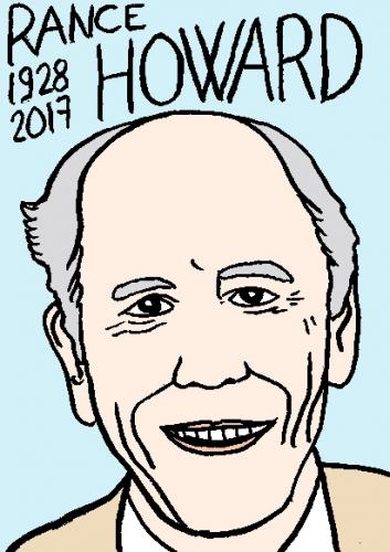 mort de Rance Howard, dessin, portrait, laurent jacquy,répertoire des macchabées célèbres,mort d'homme,