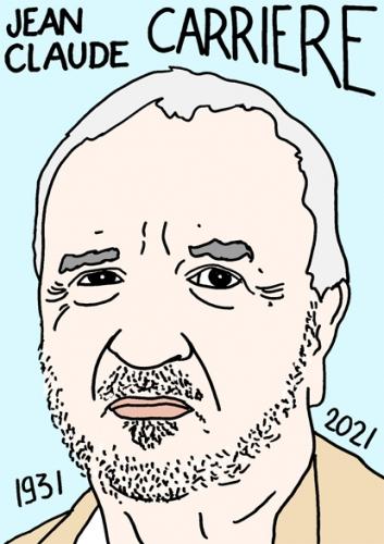 mort de Jean-Claude Carrière,dessin,portrait,laurent Jacquy