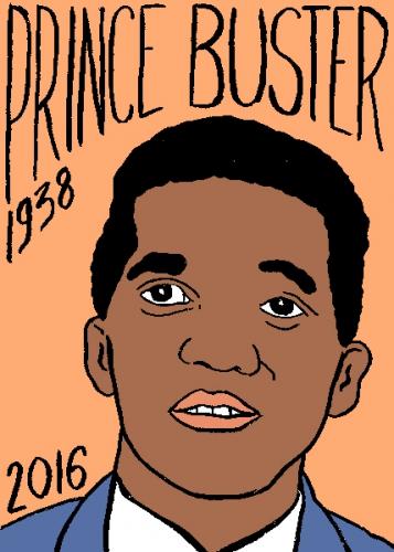 mort de prince buster, dessin, portrait, laurent jacquy,répertoire des macchabées célèbres,mort d'homme,