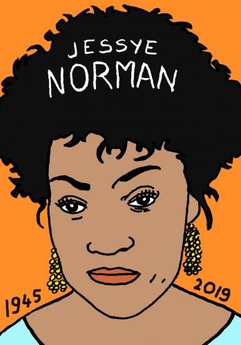 mort de Jessye Norman, dessin, portrait, laurent jacquy,répertoire des macchabées célèbres,mort d'homme,